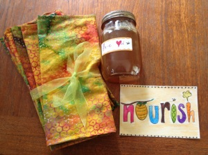 Honey, gifted to us by our bees. Homemade napkins and Nourish watercolor made with love by yours truly.