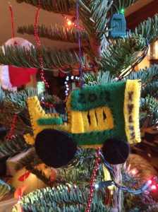 Hand made ornaments like this.  Made by my mom for my son in 2012.