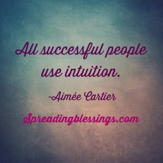 Successful people use intuition. Aimee Cartier